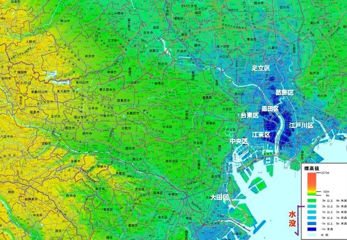地球温暖化 東京 水没
